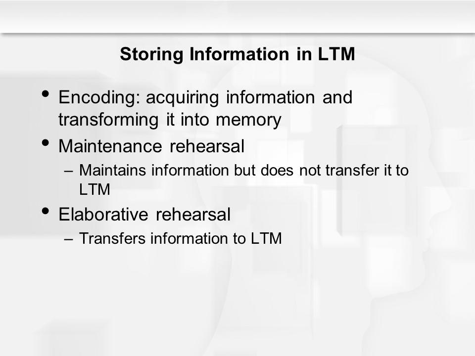 Storing Information in LTM