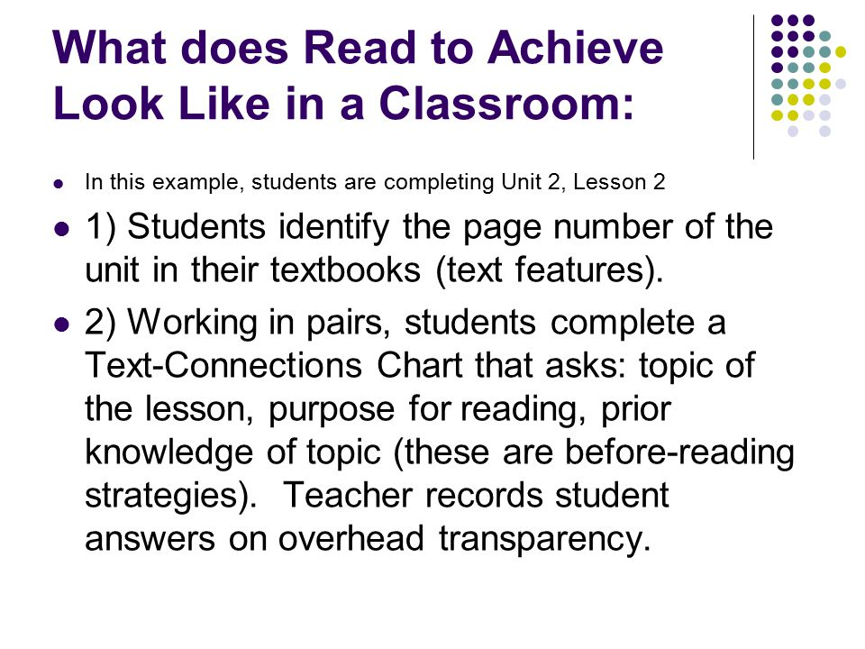 What does Read to Achieve Look Like in a Classroom: