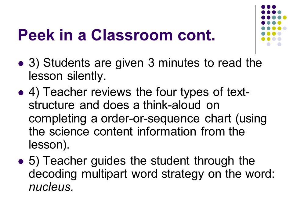Peek in a Classroom cont.