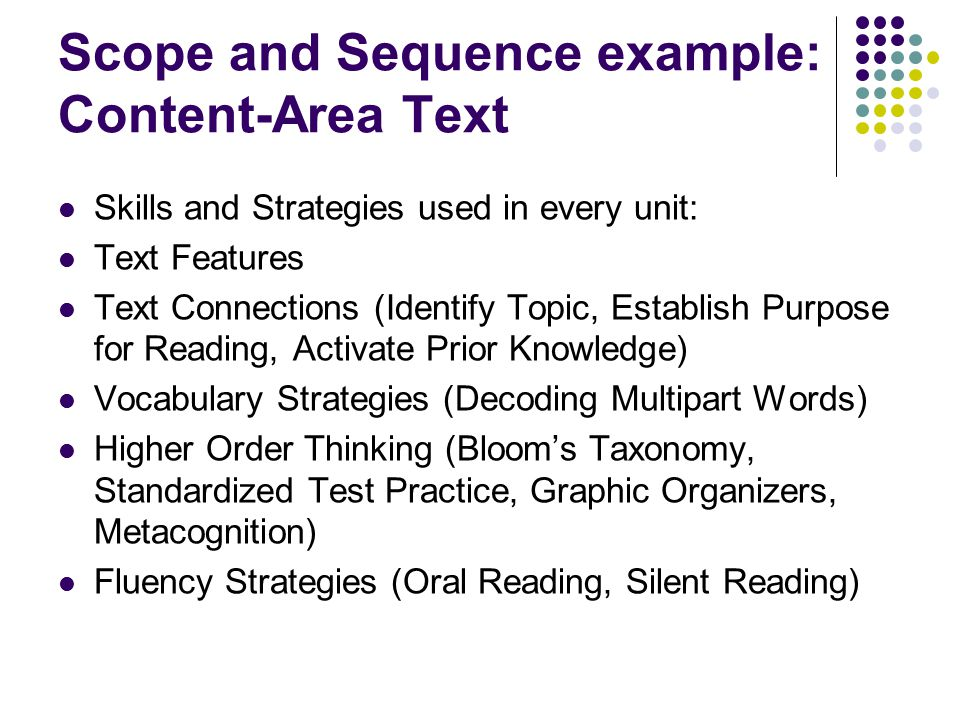 Scope and Sequence example: Content-Area Text