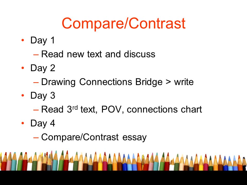 Compare/Contrast Day 1 Read new text and discuss Day 2