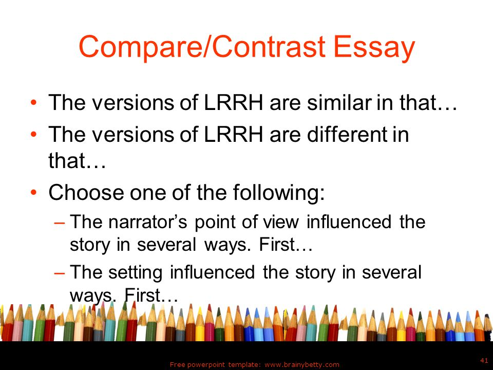 free example of compare and contrast essays