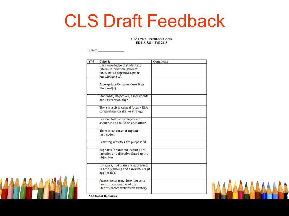 CLS Draft Feedback