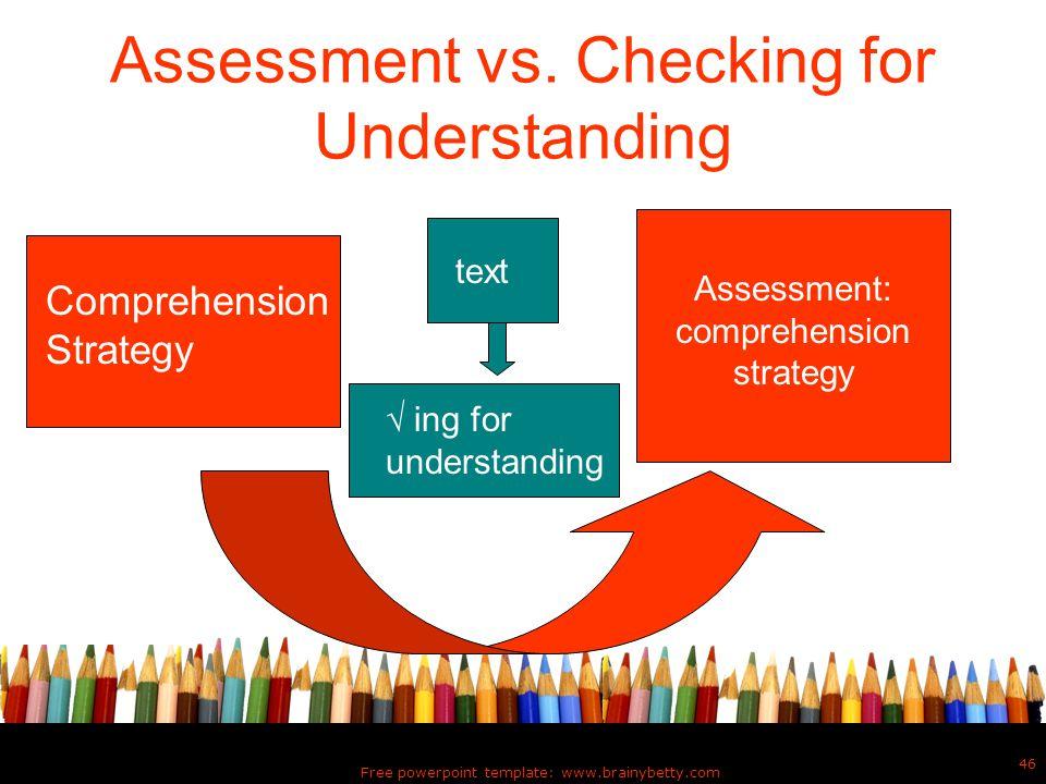 Assessment vs. Checking for Understanding