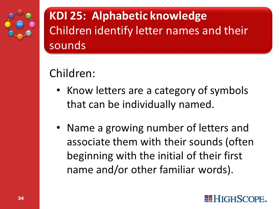 KDI 25: Alphabetic knowledge