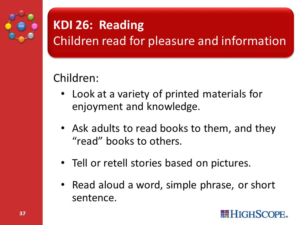 Children read for pleasure and information