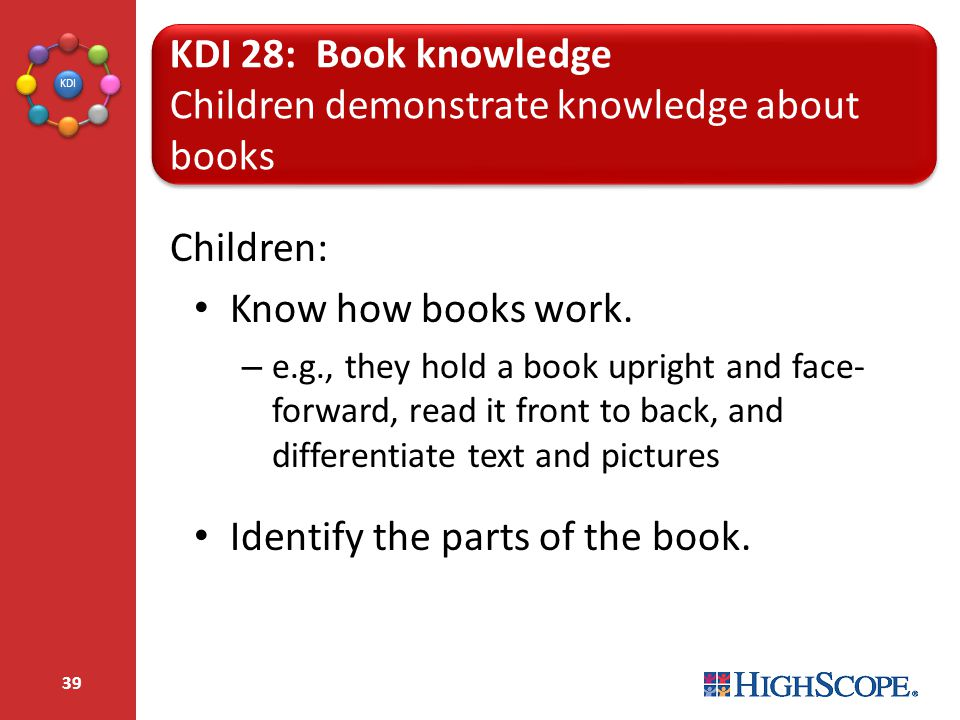 Children demonstrate knowledge about books