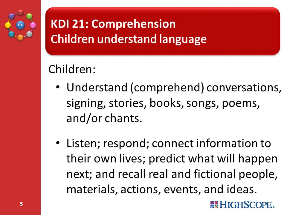 KDI 21: Comprehension Children understand language. Children: