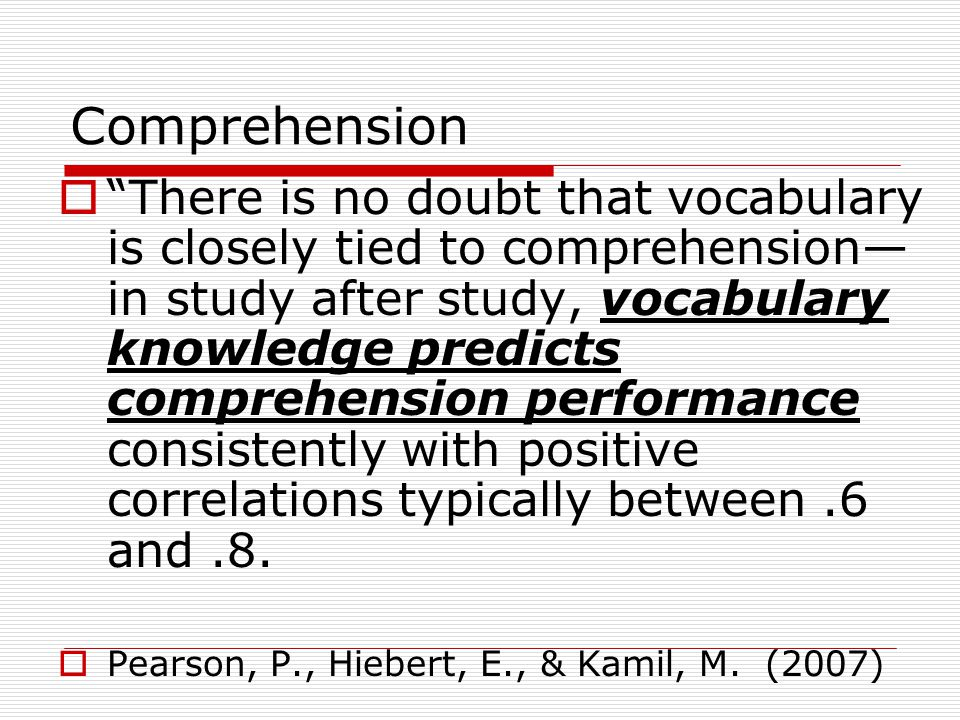 Comprehension