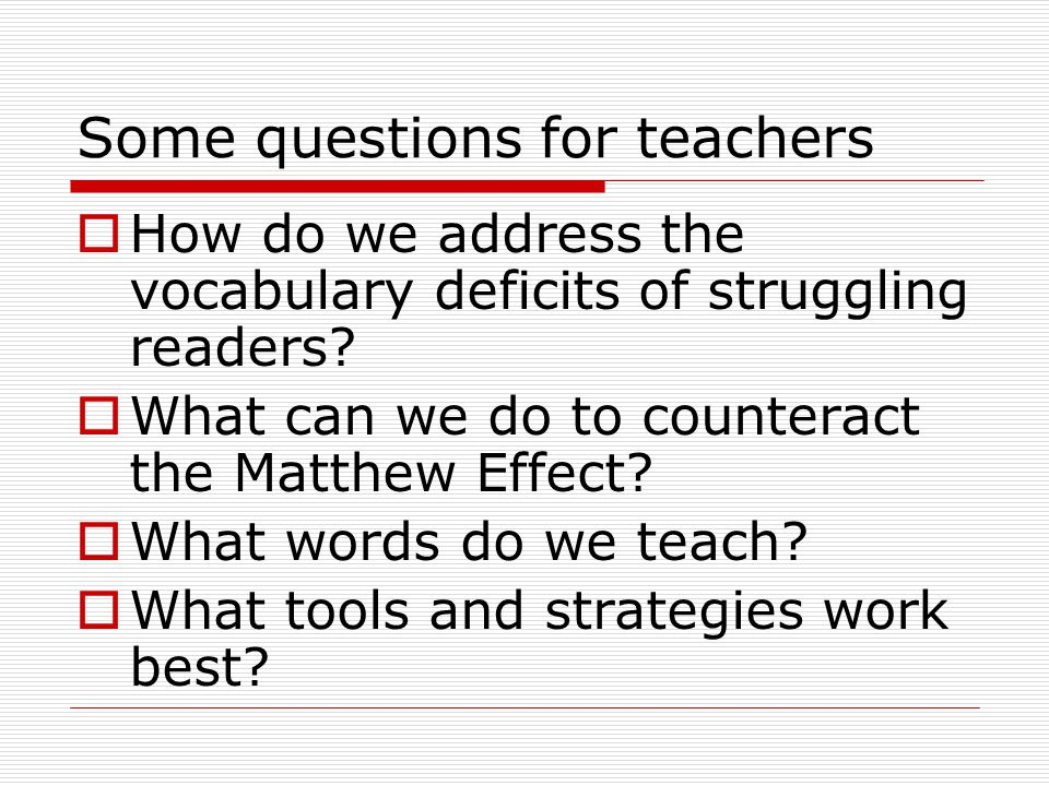 Some questions for teachers