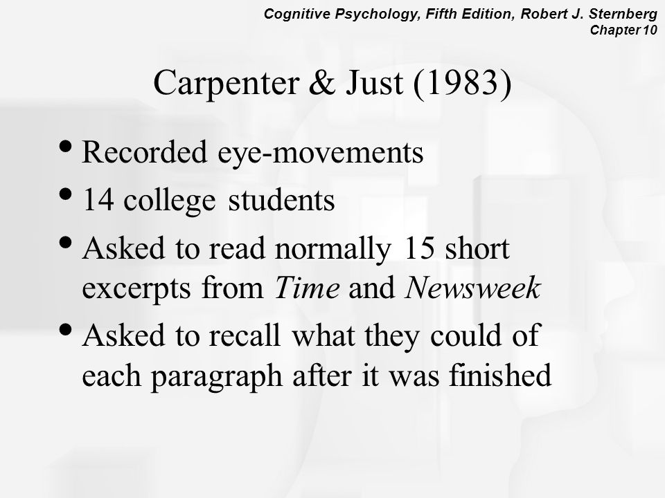 Carpenter & Just (1983) Recorded eye-movements 14 college students