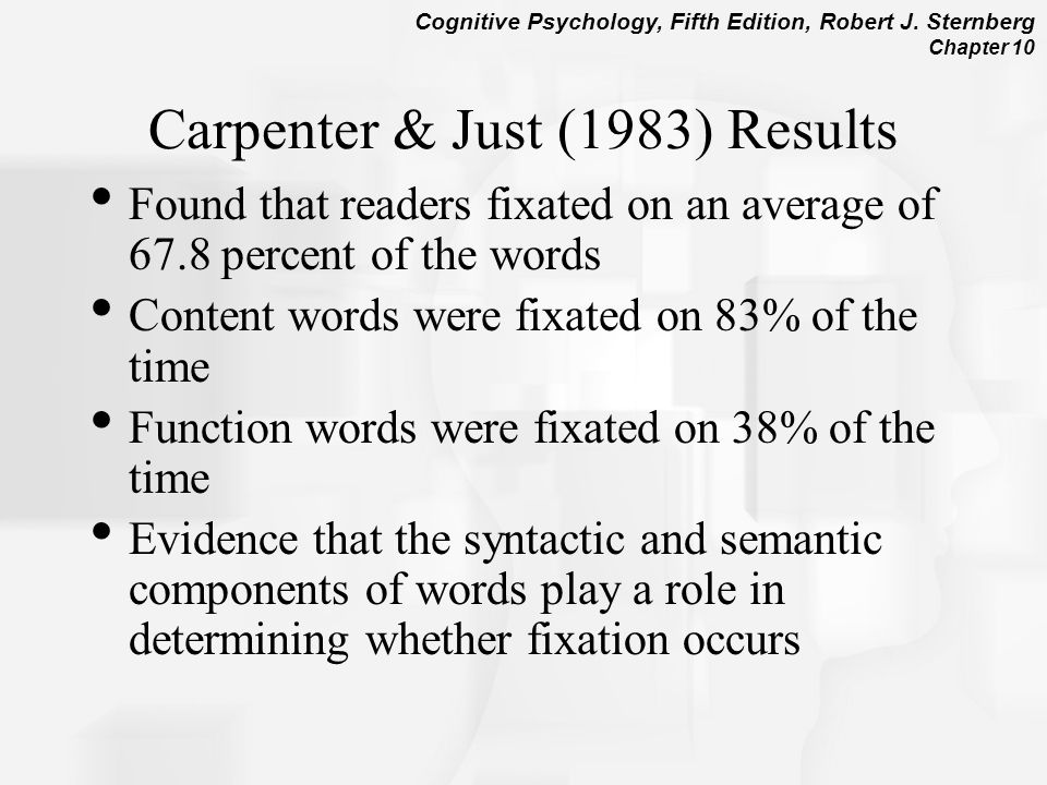 Carpenter & Just (1983) Results