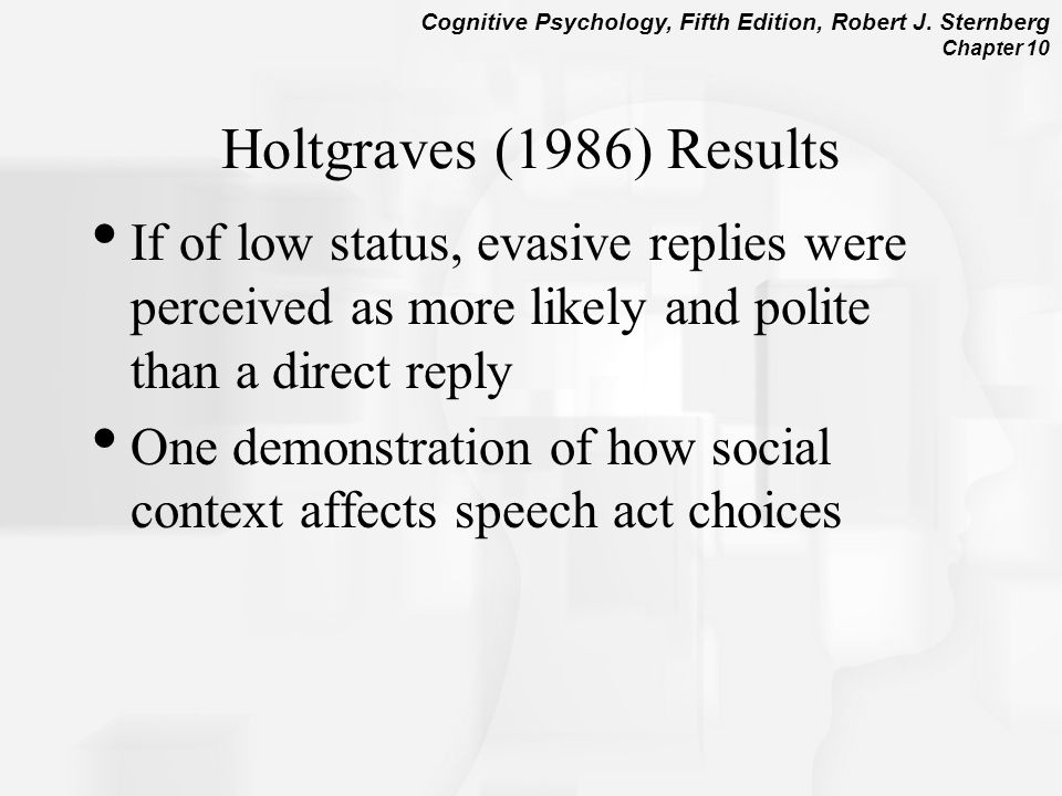 Holtgraves (1986) Results If of low status, evasive replies were perceived as more likely and polite than a direct reply.