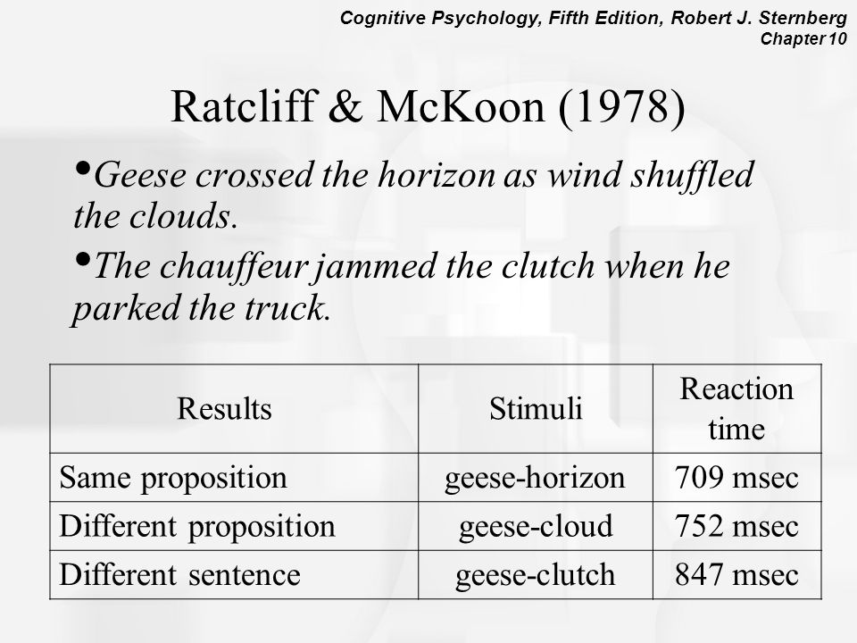 Ratcliff & McKoon (1978) Geese crossed the horizon as wind shuffled the clouds. The chauffeur jammed the clutch when he parked the truck.