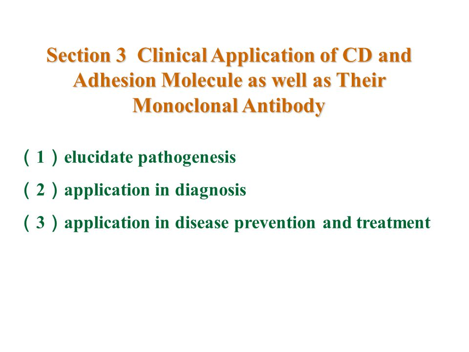 Section 3 Clinical Application of CD and Adhesion Molecule as well as Their Monoclonal Antibody