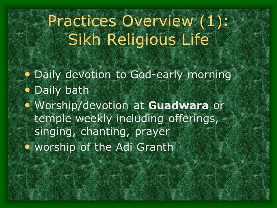 Practices Overview (1): Sikh Religious Life