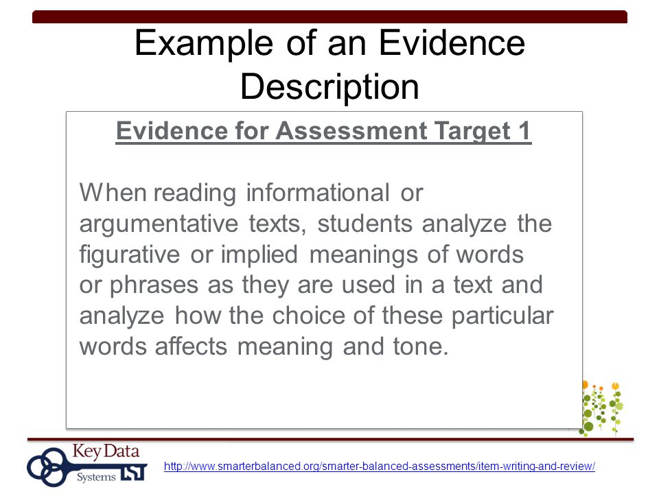 Example of an Evidence Description