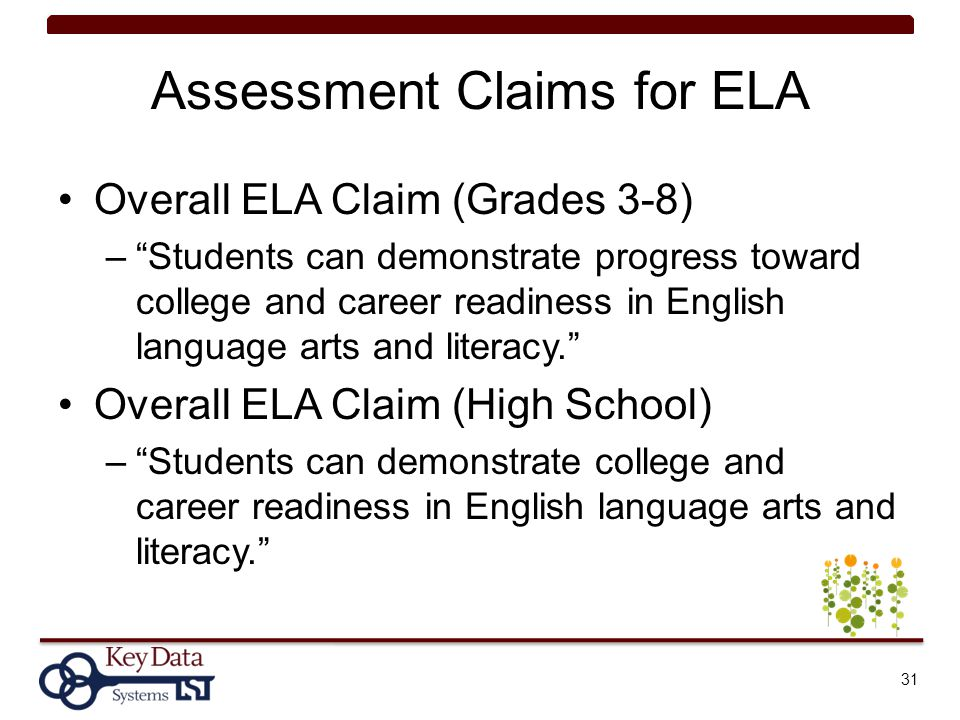 Assessment Claims for ELA