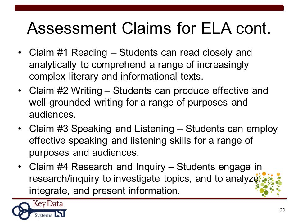 Assessment Claims for ELA cont.