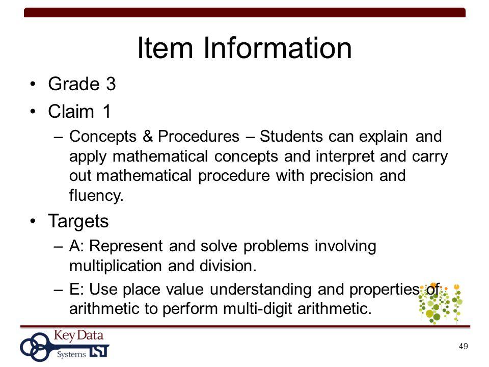 Item Information Grade 3 Claim 1 Targets