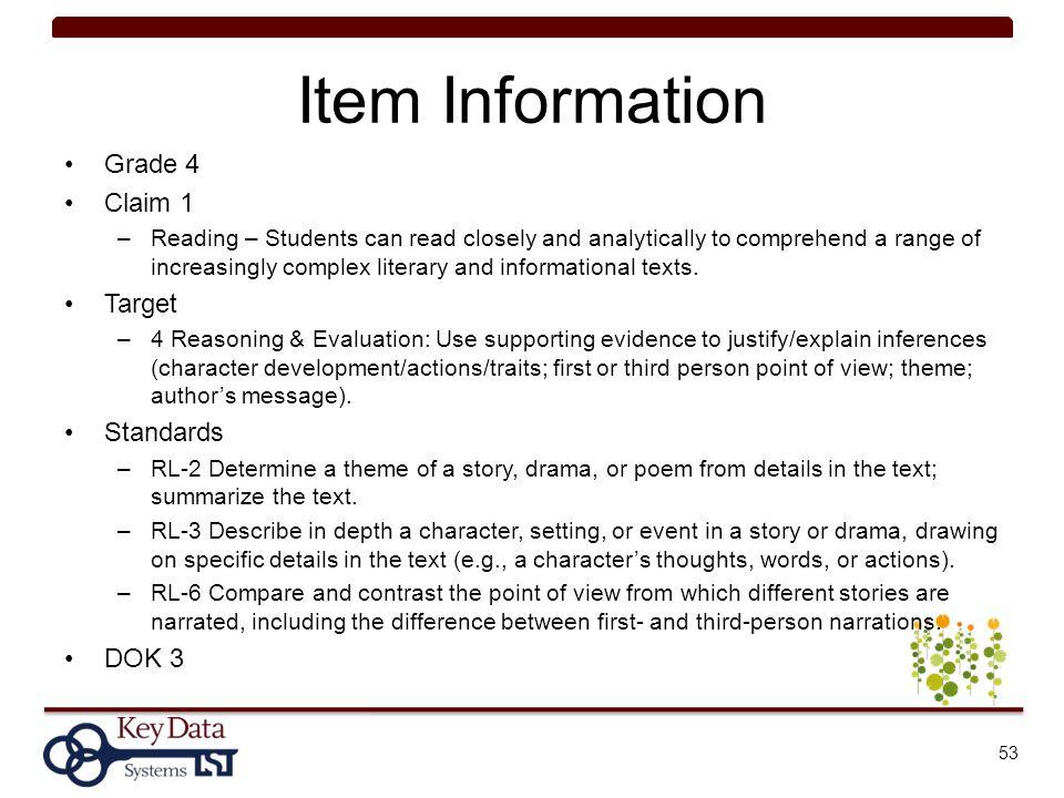 Item Information Grade 4 Claim 1 Target Standards DOK 3