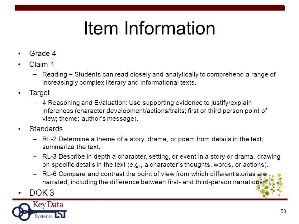 Item Information DOK 3 Grade 4 Claim 1 Target Standards