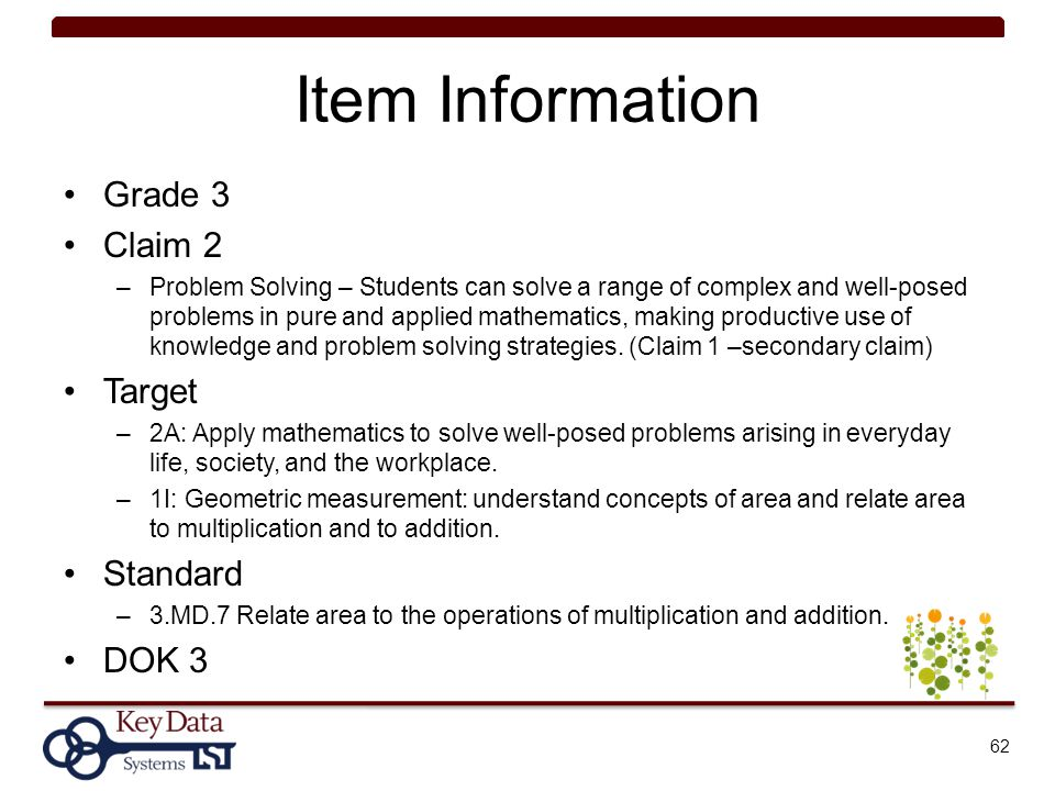 Item Information Grade 3 Claim 2 Target Standard DOK 3
