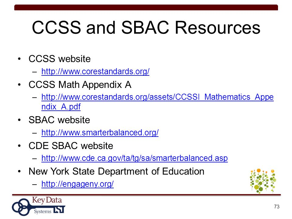 CCSS and SBAC Resources