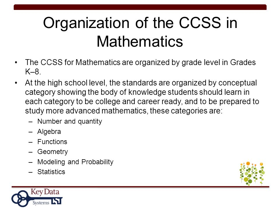 Organization of the CCSS in Mathematics