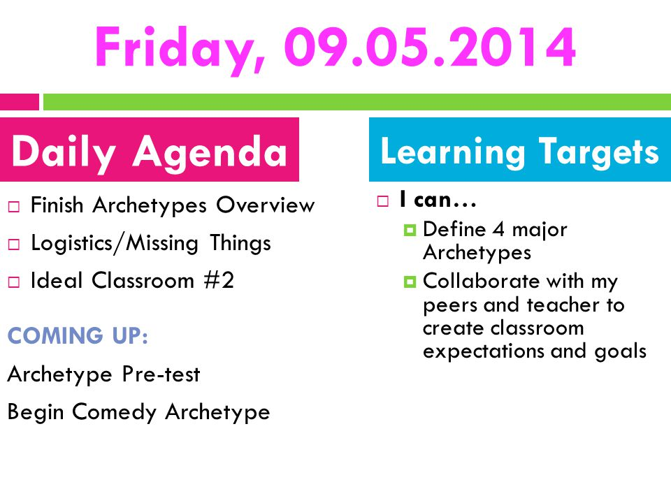 Friday, 09.05.2014 Daily Agenda Learning Targets