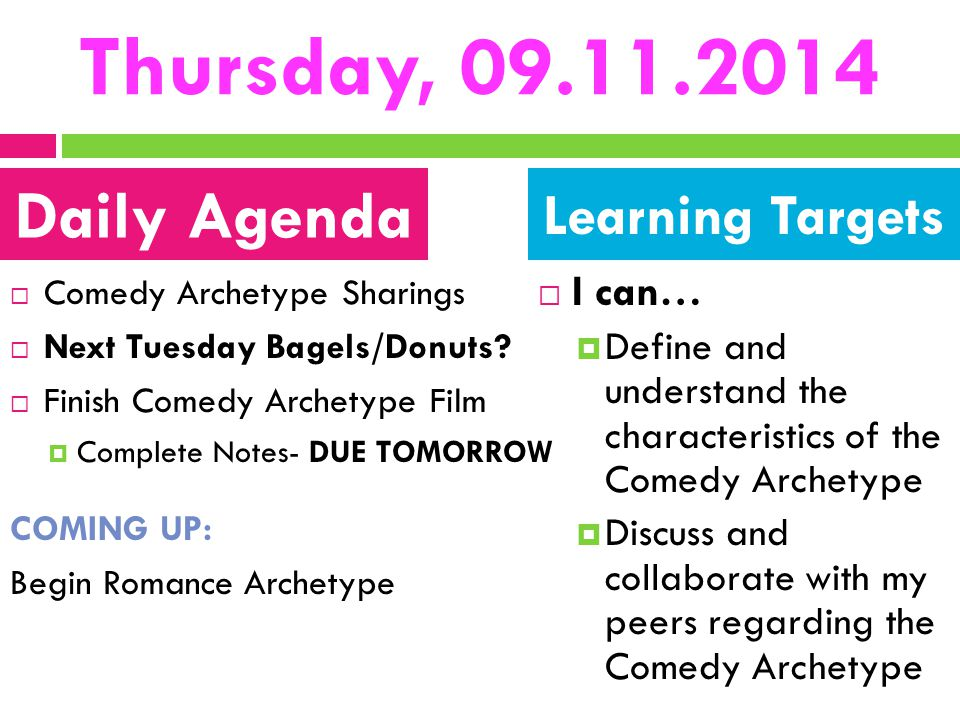 Thursday, 09.11.2014 Daily Agenda Learning Targets I can…