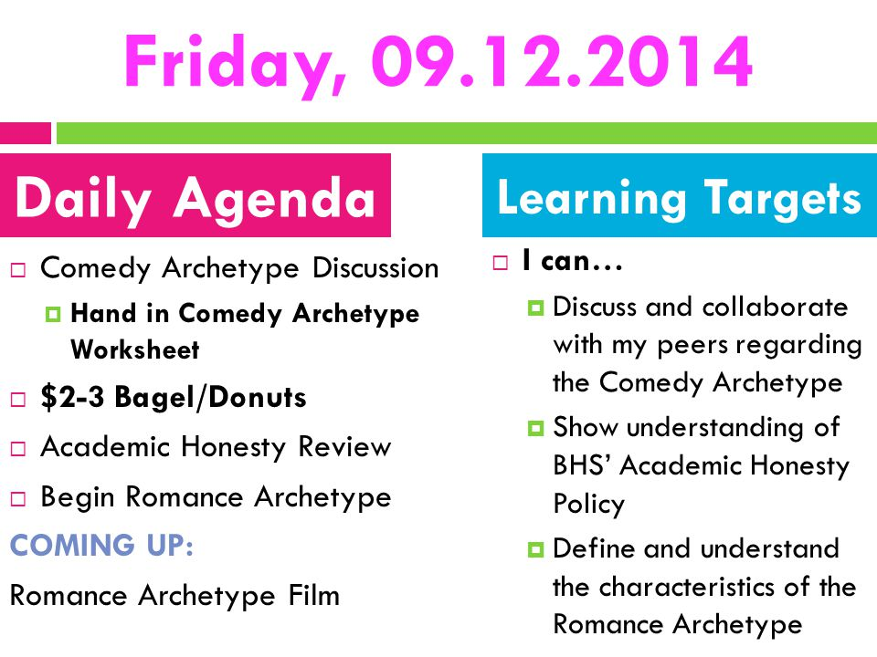 Friday, 09.12.2014 Daily Agenda Learning Targets