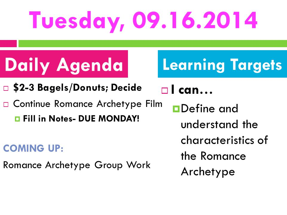 Tuesday, 09.16.2014 Daily Agenda Learning Targets I can…