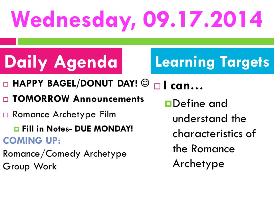 Wednesday, 09.17.2014 Daily Agenda Learning Targets I can…
