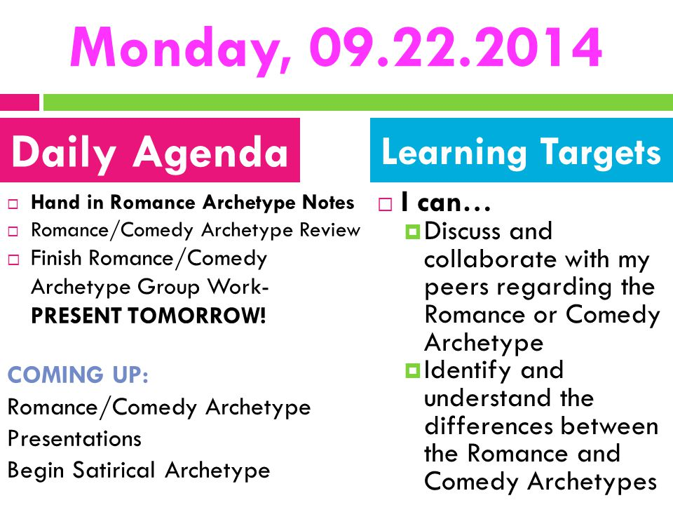 Monday, 09.22.2014 Daily Agenda Learning Targets I can…