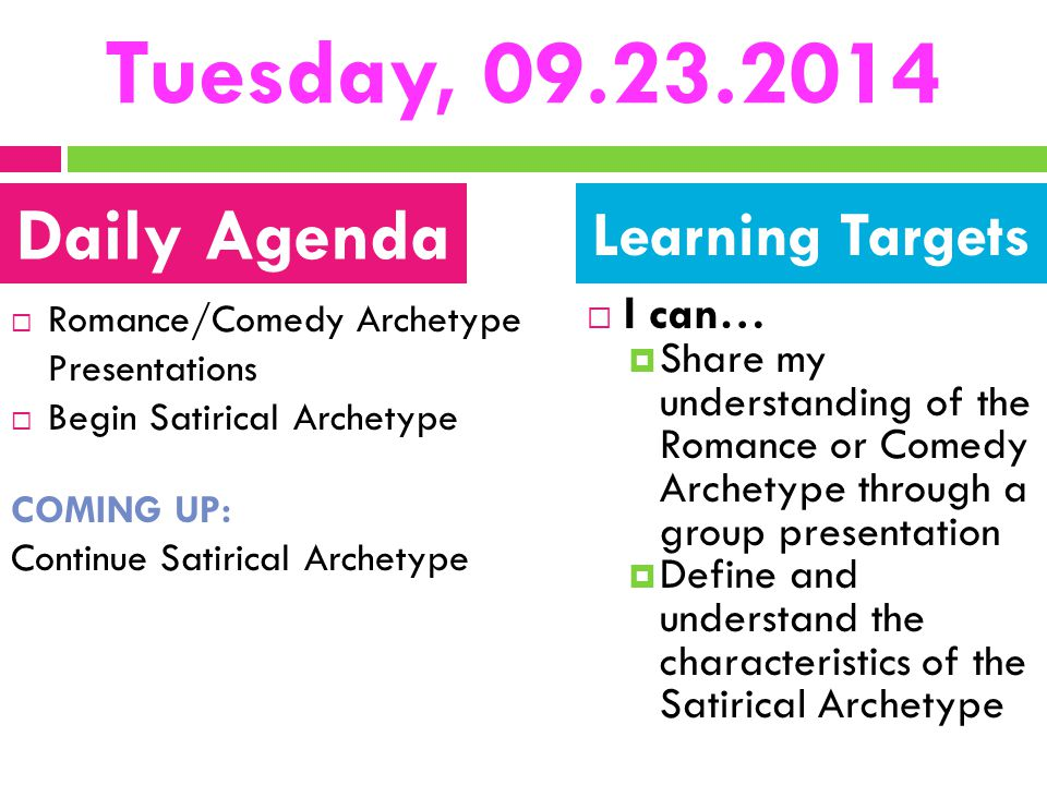 Tuesday, 09.23.2014 Daily Agenda Learning Targets I can…