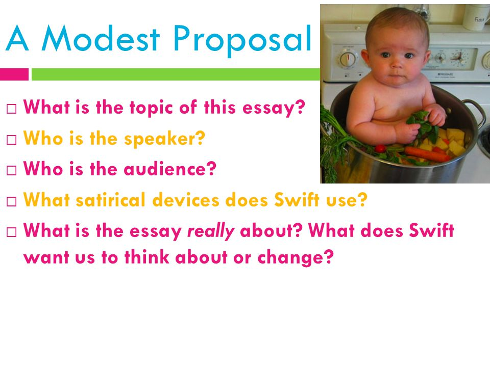 A Modest Proposal What is the topic of this essay Who is the speaker