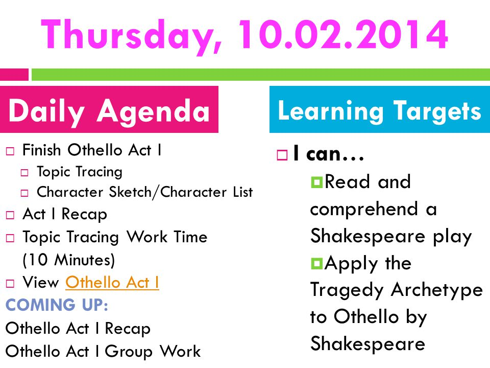 Thursday, 10.02.2014 Daily Agenda Learning Targets I can…