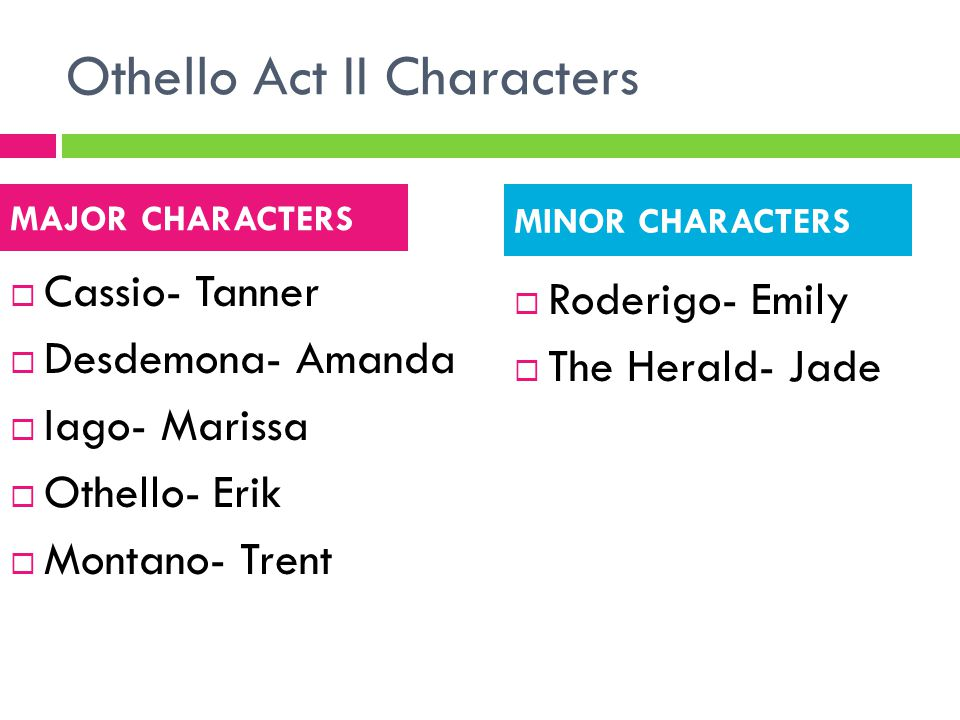 Othello Act II Characters