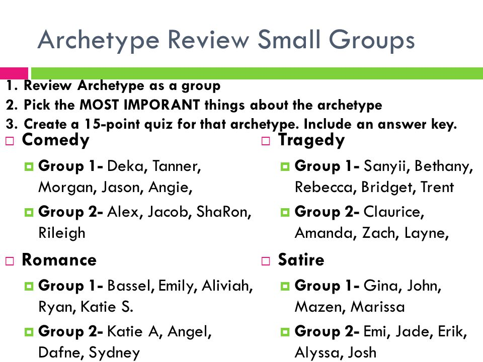 Archetype Review Small Groups