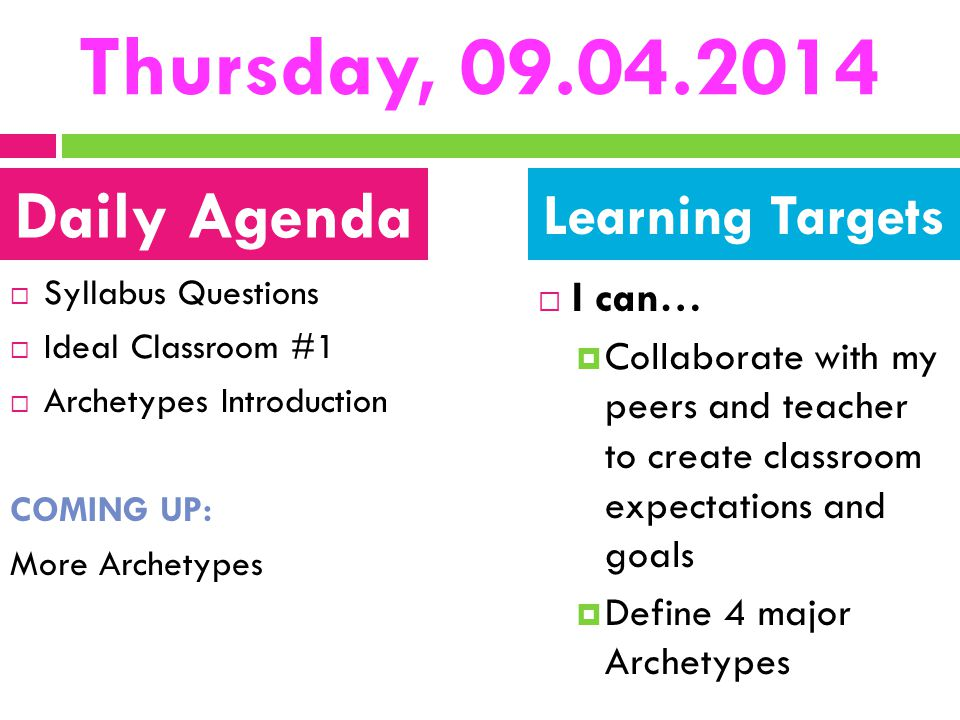 Thursday, 09.04.2014 Daily Agenda Learning Targets I can…