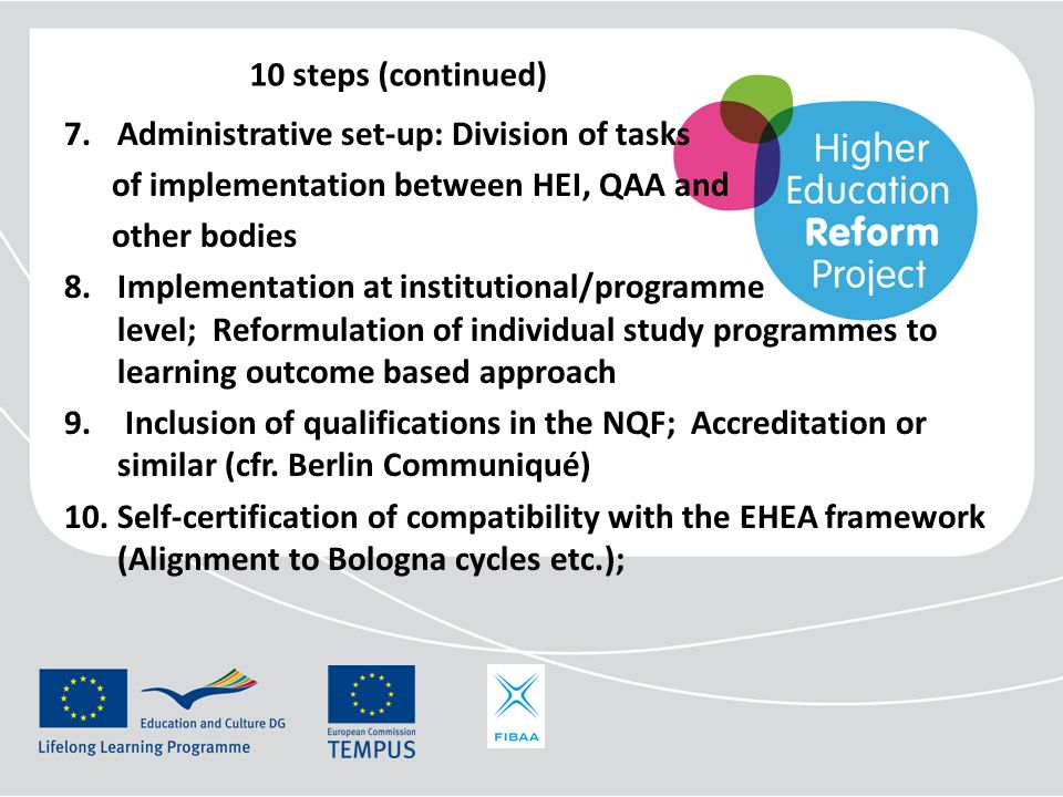 10 steps (continued) Administrative set-up: Division of tasks. of implementation between HEI, QAA and.