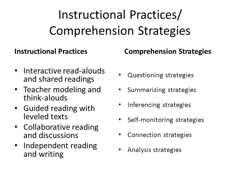 Instructional Practices/ Comprehension Strategies