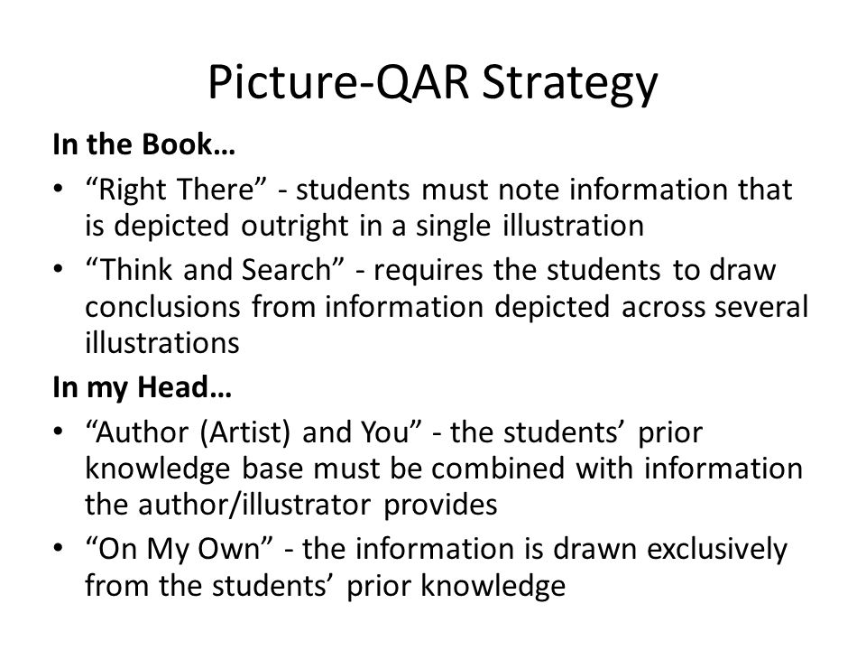 Picture-QAR Strategy In the Book…