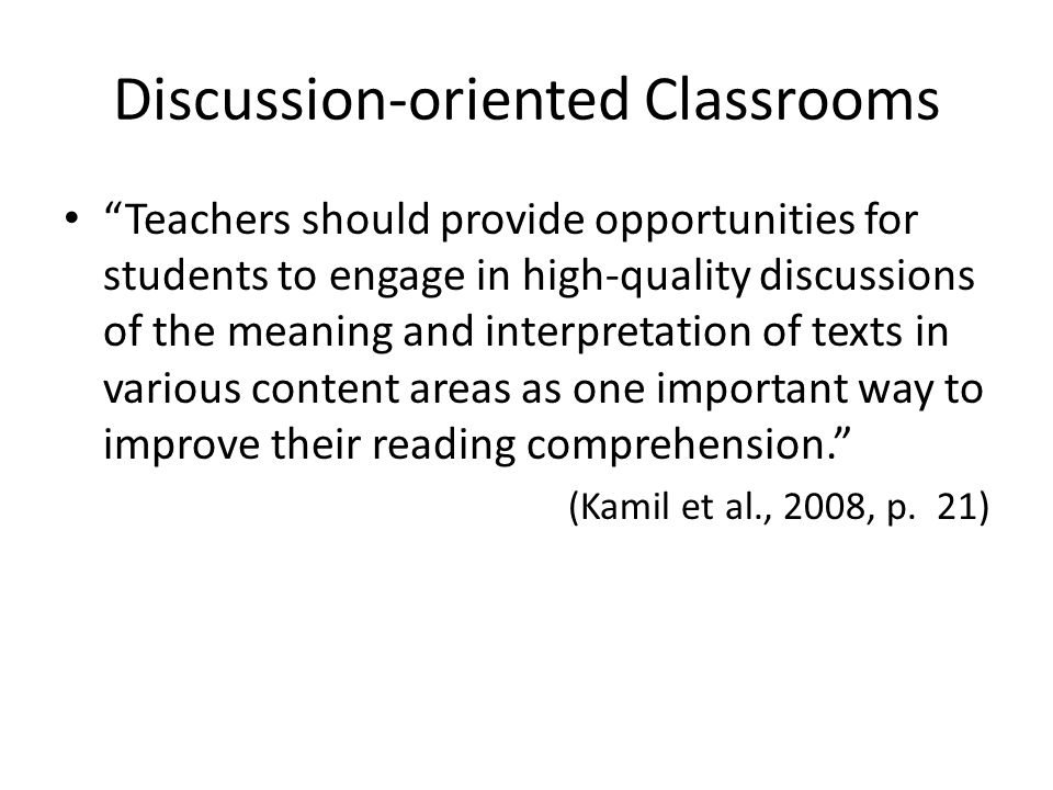 Discussion-oriented Classrooms