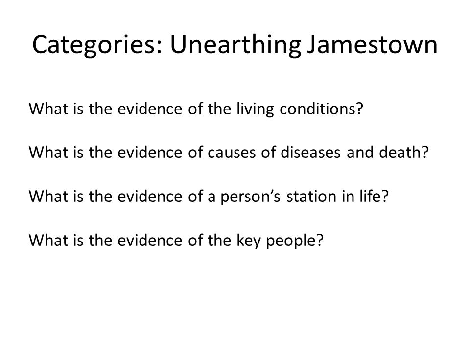 Categories: Unearthing Jamestown