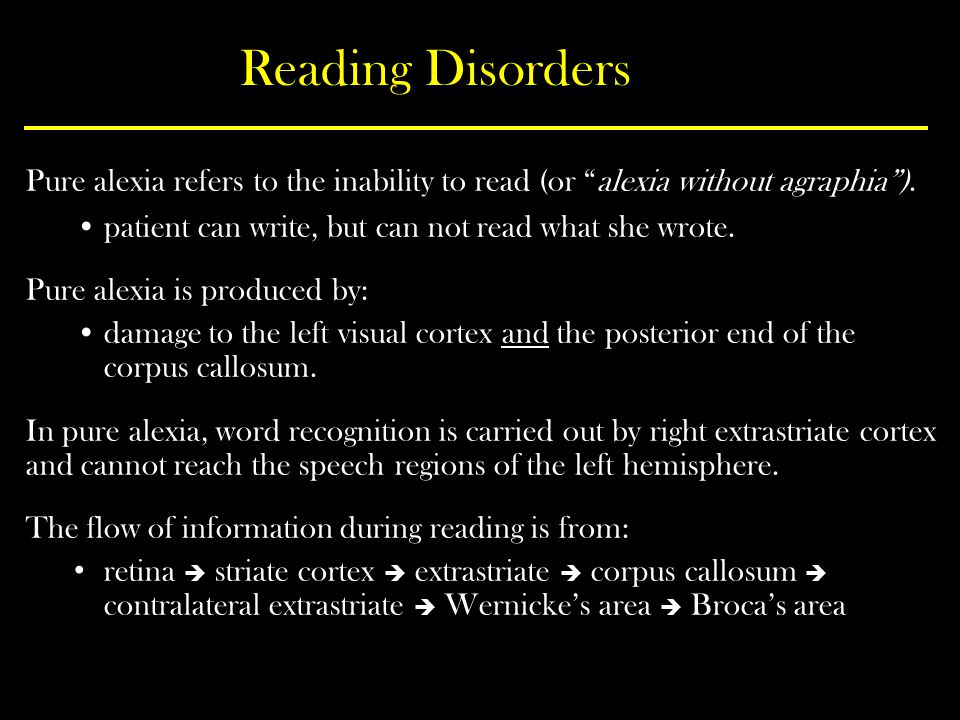 Reading Disorders Pure alexia refers to the inability to read (or alexia without agraphia ). patient can write, but can not read what she wrote.