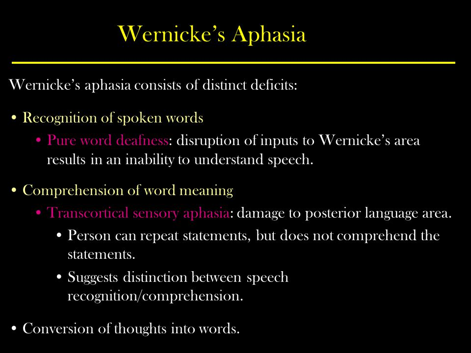 Wernicke's Aphasia Wernicke's aphasia consists of distinct deficits: