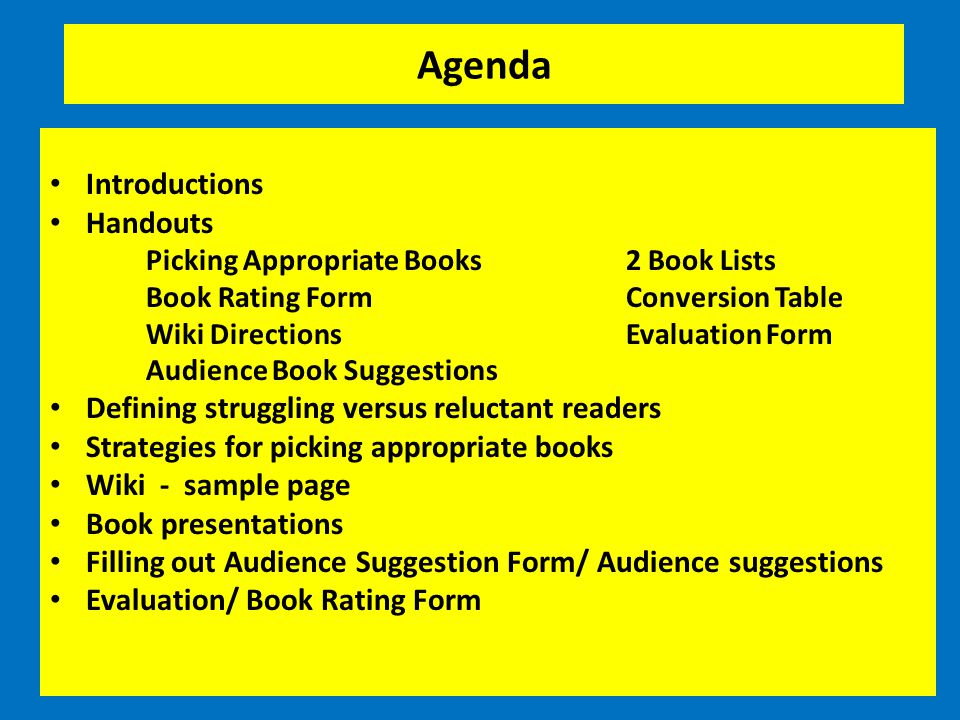 Agenda Introductions Handouts