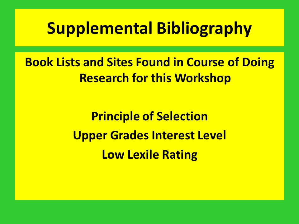 Supplemental Bibliography